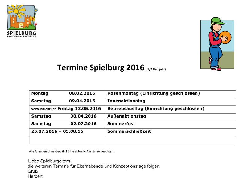 KiTa Spielburg Termine 2016-01