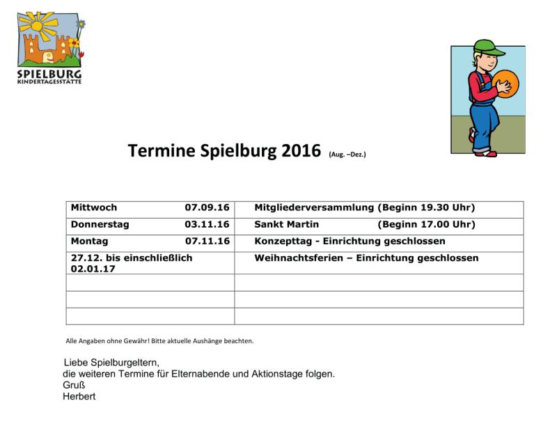 KiTa Spielburg Termine 2016-08