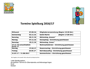 KiTa Spielburg Termine 2016-12