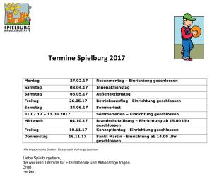 KiTa Spielburg Termine 2017-05