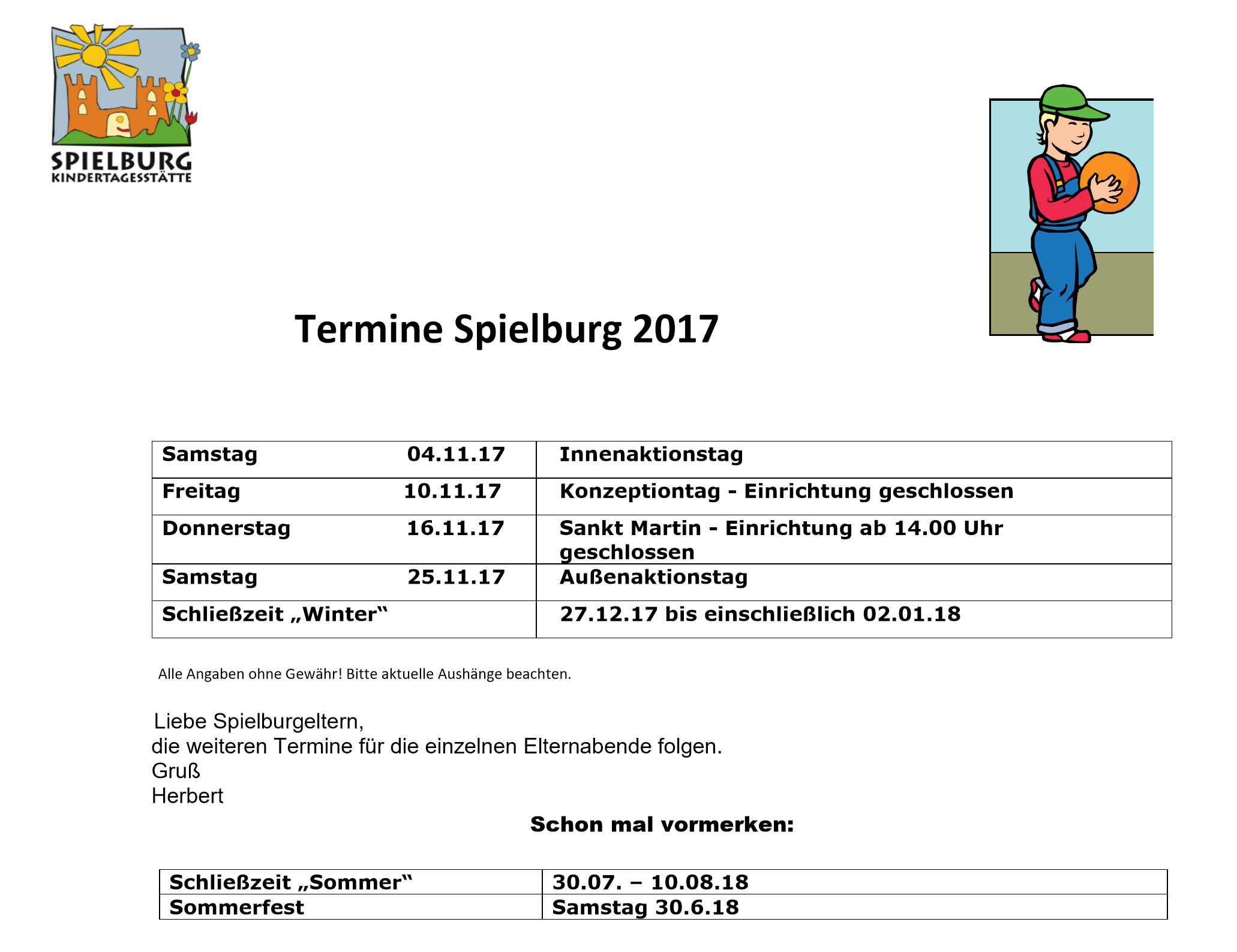 KiTa Spielburg Termine 2017-11