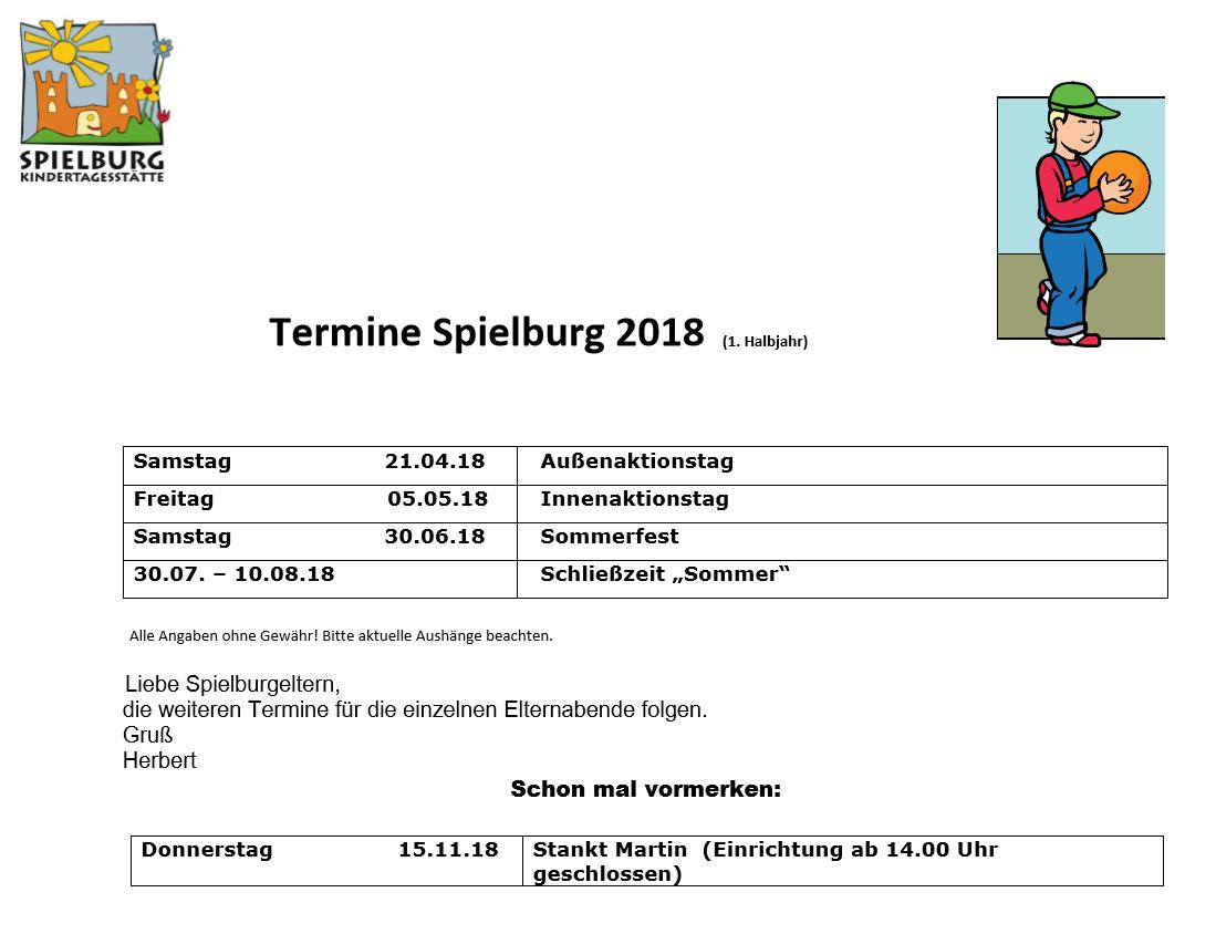 KiTa Spielburg Termine 2018-02