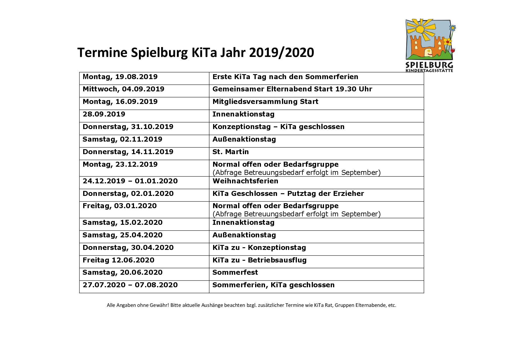 KiTa Spielburg Termine 2018-19